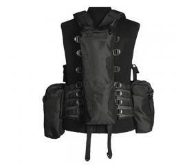 Veste tactique noir 12 poches et sac a dos