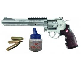 "Pack Ruger super hawk 8"" chromé + 3 cartouches CO2 + 1000 BBS 0,25 gr"
