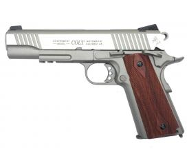 Colt 1911 Rail Gun Stainless Full Metal Blowback CO2