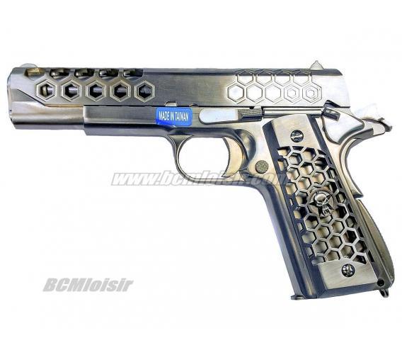 M1911 Hex Cut Full Metal Chrome GBB WE 0,9 J