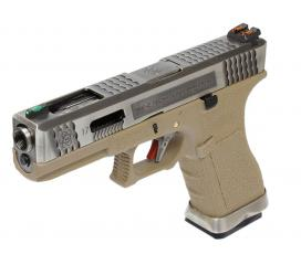 G17 G-Force T8 Metal Slide Silver Silver Tan GBB WE
