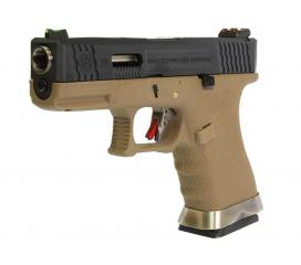 G19 G-Force T2 Metal Slide Noir Silver Tan GBB WE