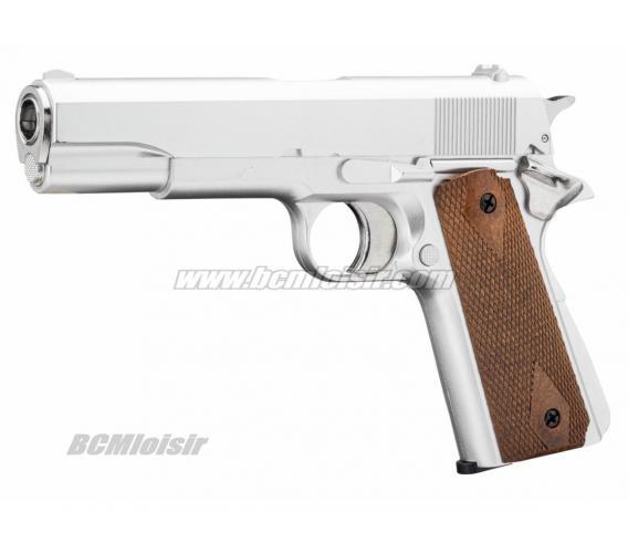 Replique Colt 1911 Silver GNB Gaz 1 Joule